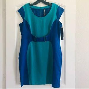 New Marc York Blue Green Block Stretch Dress
